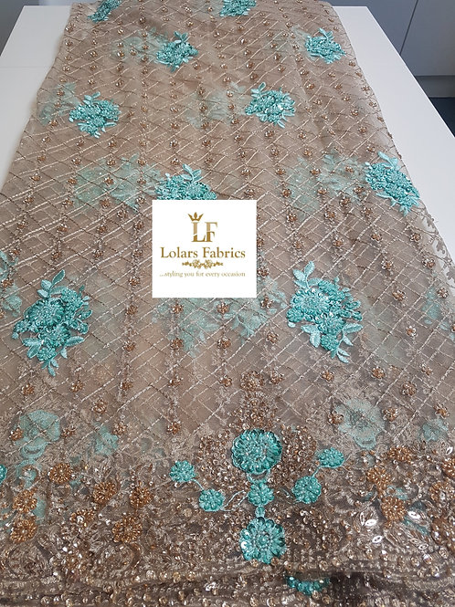 Charu gold and Green beaded lace