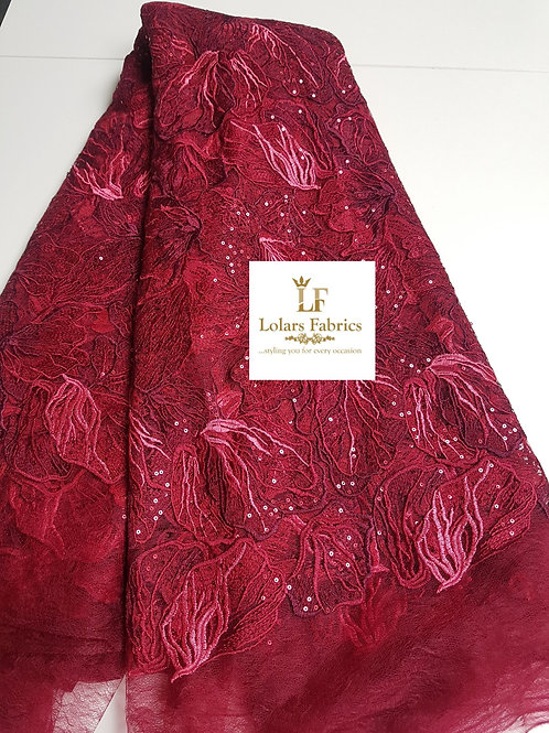 Snazzy Burgundy Sequinned Soft Chantilly Lace
