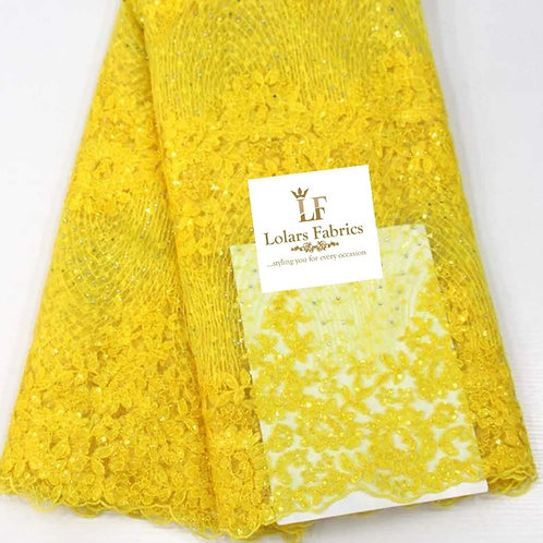 Starry Yellow Tulle Lace