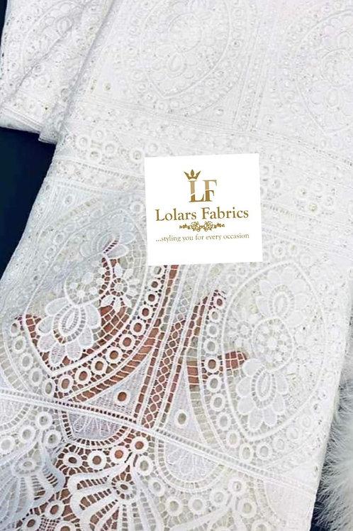 Oyinlola  white stylish cord lace fabric