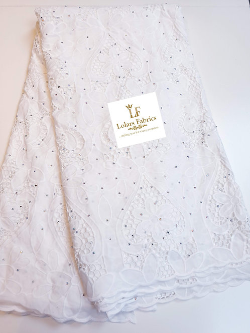 The Bussy white stoned silky tissue lace fabric