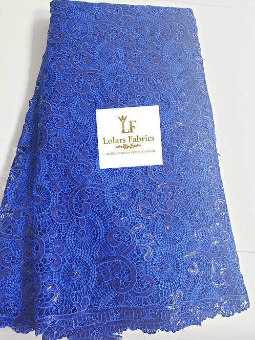 Cobalt Blue Double Sequinned Guipure Lace