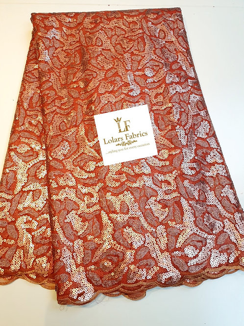 Bronzy Queen sequinned lace