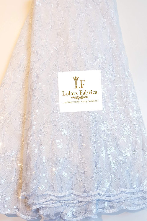 Venus Ice White Sequinned lace fabric