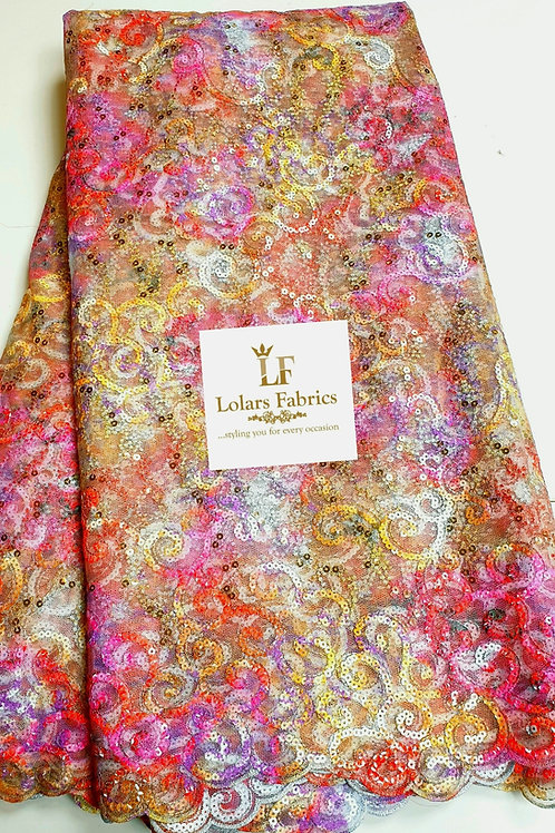 Abisola Multicolored Sequinned lace fabric