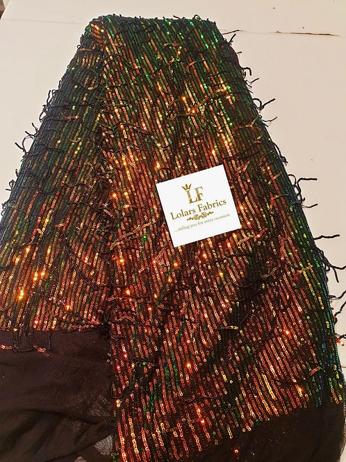 Raliat  green and copper 3D tassel sequinned lace