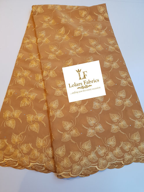 Golden Brown Swiss Voile Lace