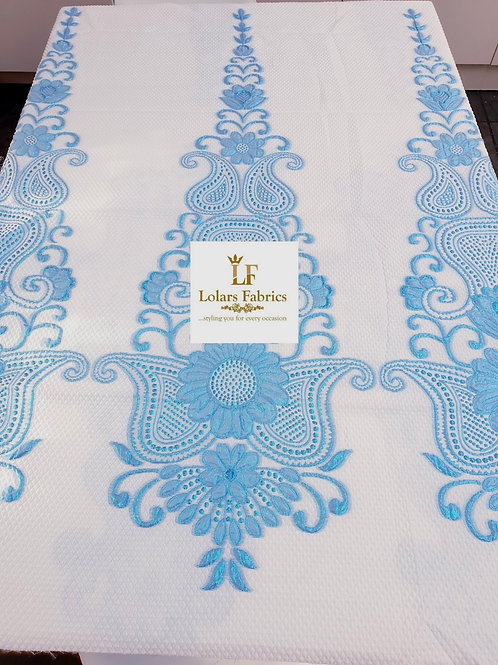 Raliat White and Blue Brocade lace