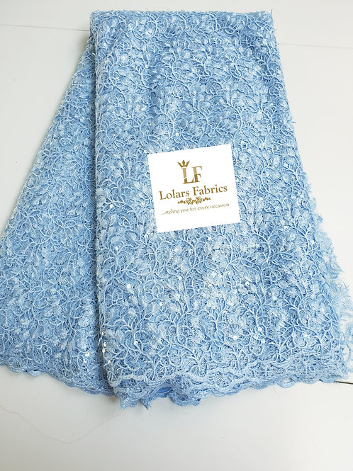 Mesmeric Baby Blue Payette Sequins Lace