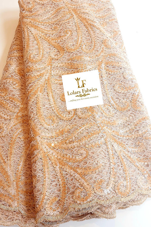 Ronny Charming Champagne gold and beige sequinned chantilly lace