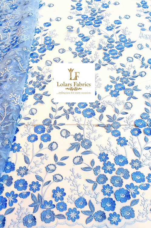 Blooming Bluetiful Blue 3d tulle lace