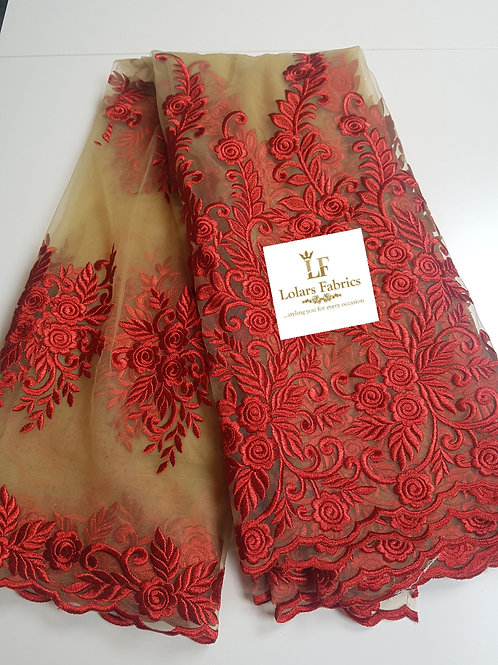 Royalty Embroidered Red Tulle on Nude Lace