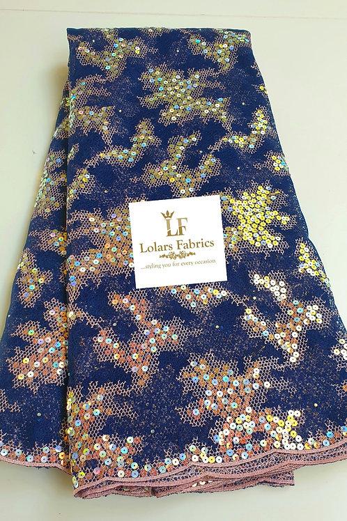 Luxury Aurelia Midnight Blue Sequinned Lace Fabric