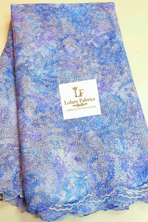 The Kunbi lilac and purple hues sequinned lace fabric