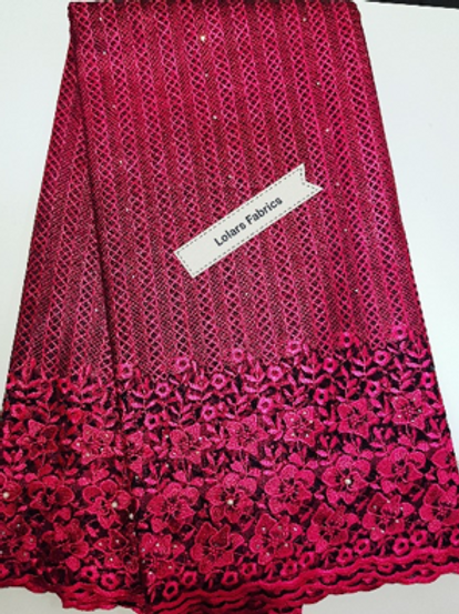 Elegant Pink on Black net Lace Fabric