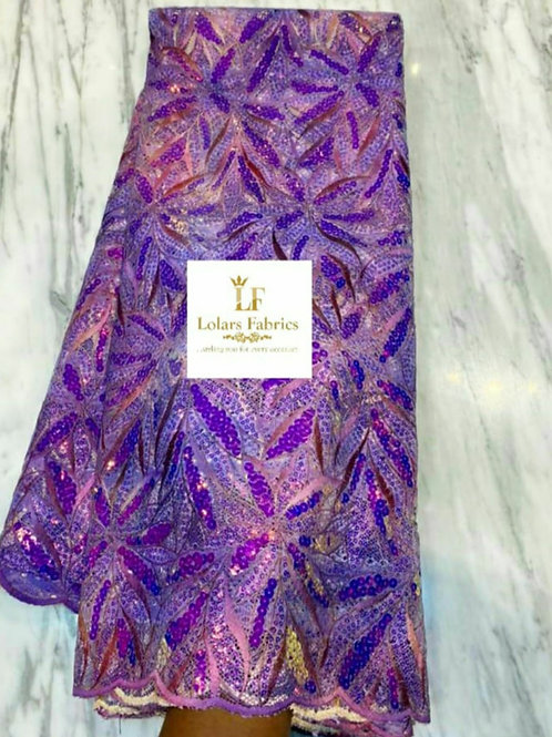 Moradeke Iridescent Purple tones lace fabric
