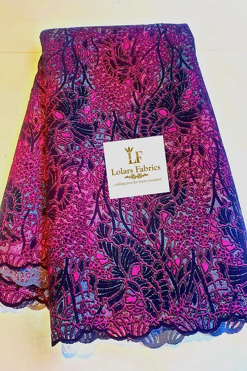 The Dame Magenta pink Velvet flocking glitter lace