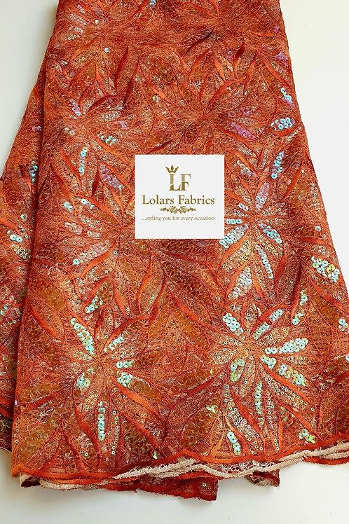Moradeke Iridescent Brown Orange tones lace fabric