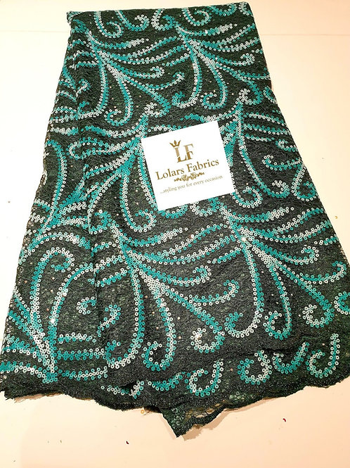 Fressia Green and teal chantilly sequinned lace