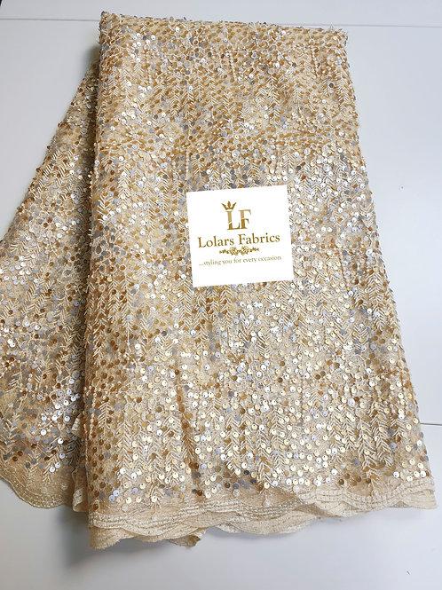 Daisy Gold 3d Payette Sequins lace