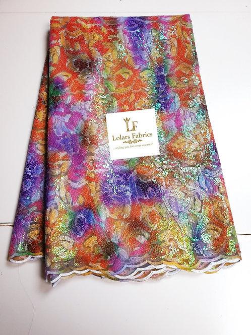 Burst of colours multicoloured sequins lace