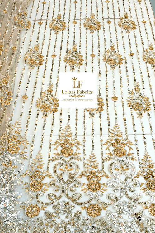 Ajoke Gold sequinned and beaded lace fabric