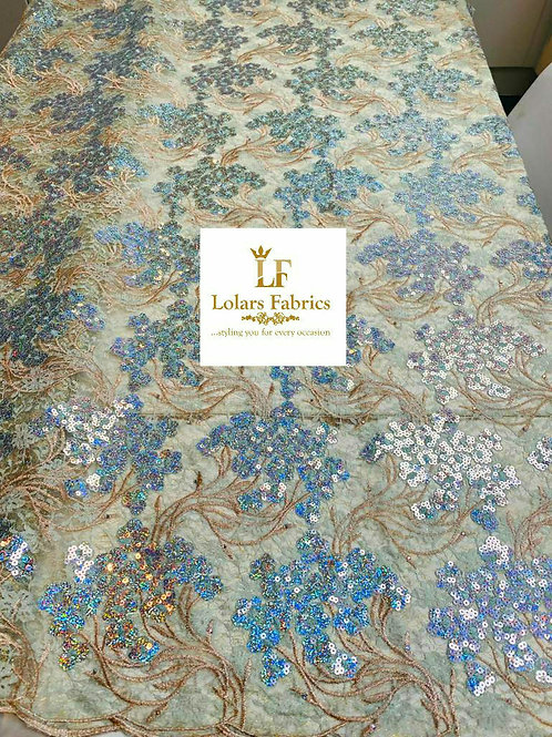 Luxury Yettie Mint Chantilly Sequinned Lace Fabric