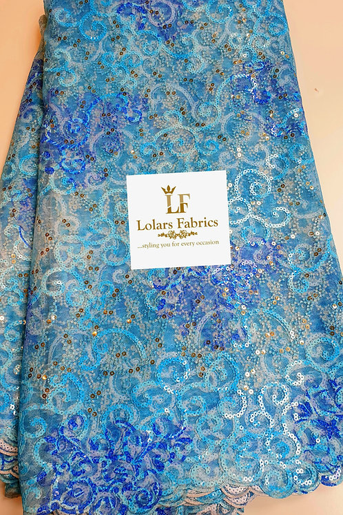 Abisola Shades of Blue sequinned lace fabric