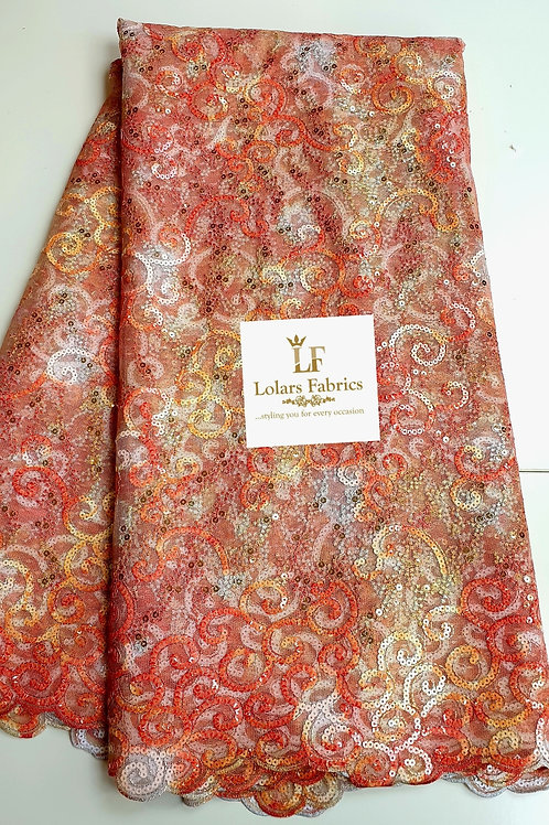 Abisola Peach and Orange Sequinned Lace Fabric
