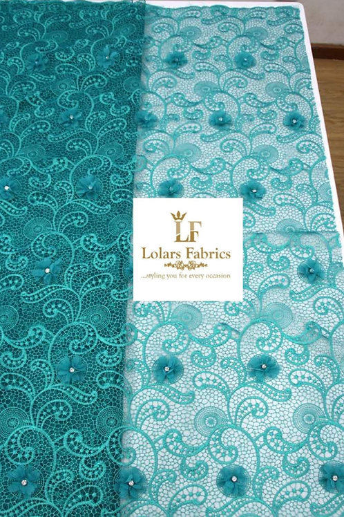 Swish Teal Green Embroidered Net Lace with 3D stoned Chiffon