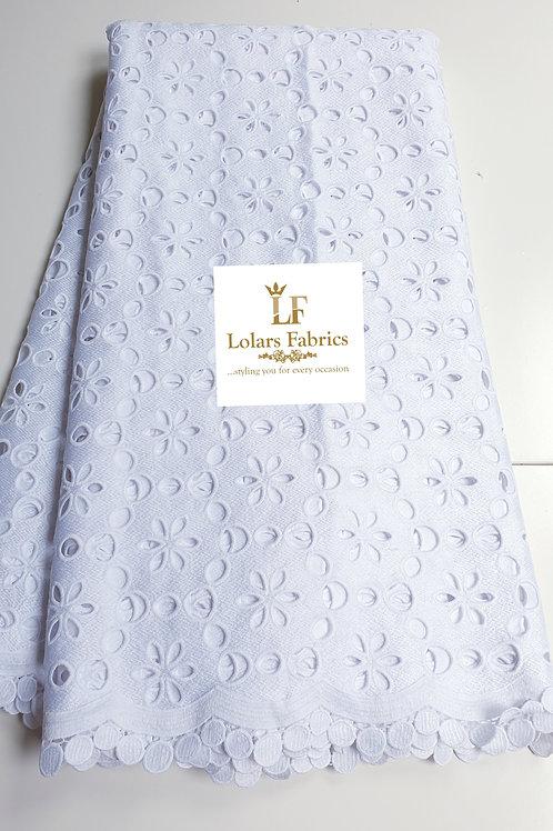 Temilewa Ice white cotton lace fabric