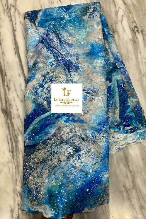 Rimike Luxury Sea of Blue chantilly sequinned lace fabric