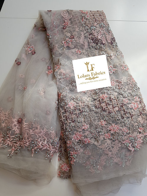 Luxury Hand beaded Touch of Beige Rose and Peach Tulle Lace