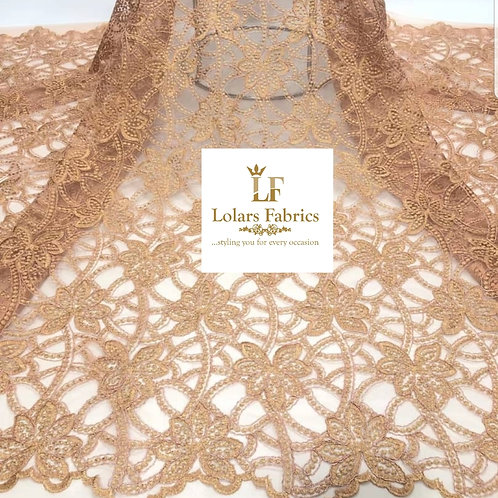 Radiant Gold Embroidery Tulle Lace