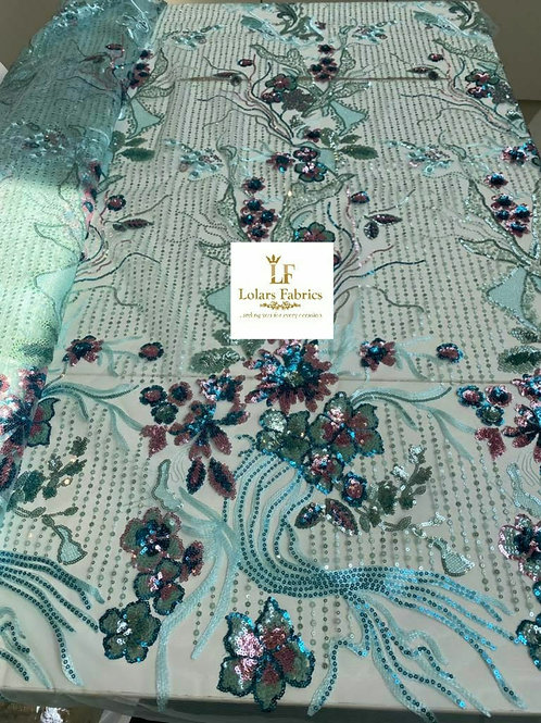 Oyin Turquoise Blue Sequinned Tulle Lace Fabric