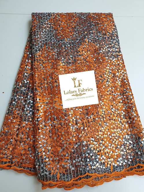 Foxy Orange Payette Sequinned Lace
