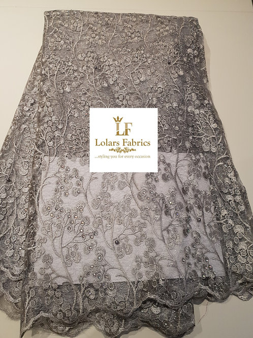 Silver Gray Stoned Double Net Lace