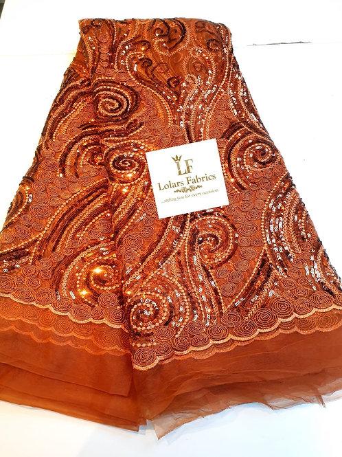 Arike Burnt Orange embroidered sequins lace