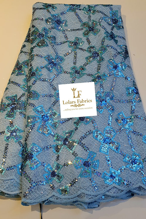 Oyinkan Luxury Baby blue sequins on chantilly Lace fabric