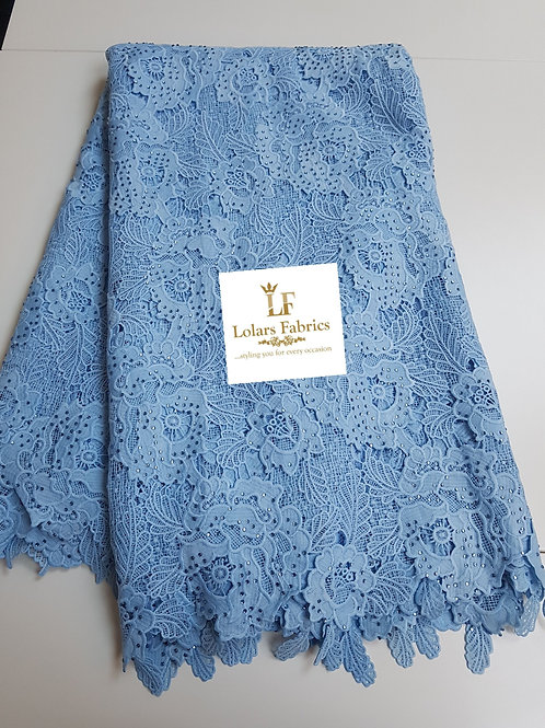 Baby Blue Tazanna Guipure Lace Fabric