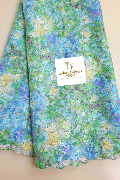Rolake summer bloom in Green, blue & purple hues lace fabric
