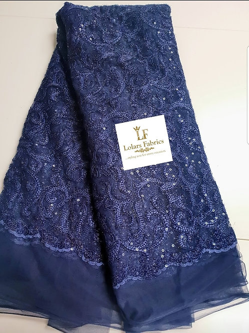 Navy Blue Shimmer Sequinned Tulle Lace