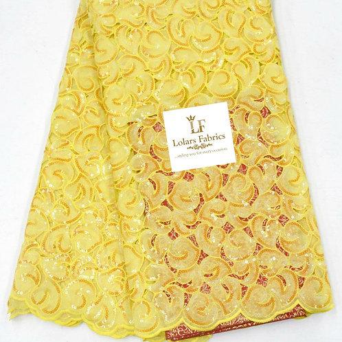 Mofiyin  stunning hand cut yellow organza lace