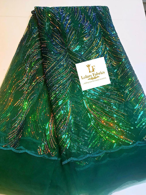 Nifemi Green Soft tulle sequinned lace