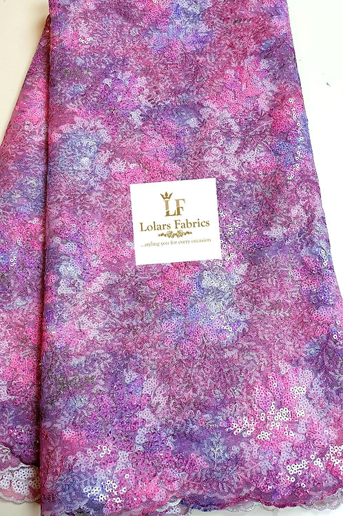 The Kunbi Pink and purple hues sequinned lace fabric