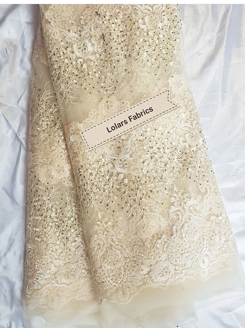 Beige stoned waterfall lace