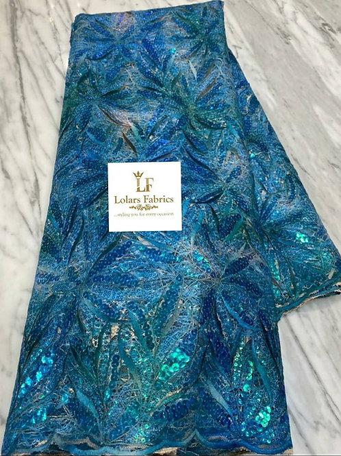 Moradeke Iridescent Teal blue tones lace fabric