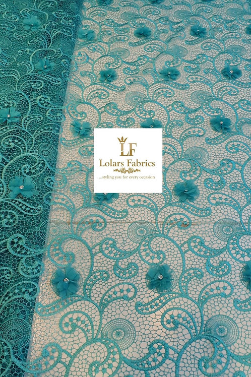 Swish lovely green embroidered net lace with 3D Stoneses Lace