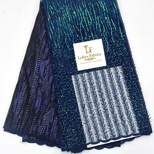 Bonnie Navy Blue  sequinned lace