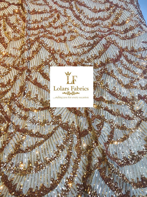 Gold Rainbow Sequinned Lace